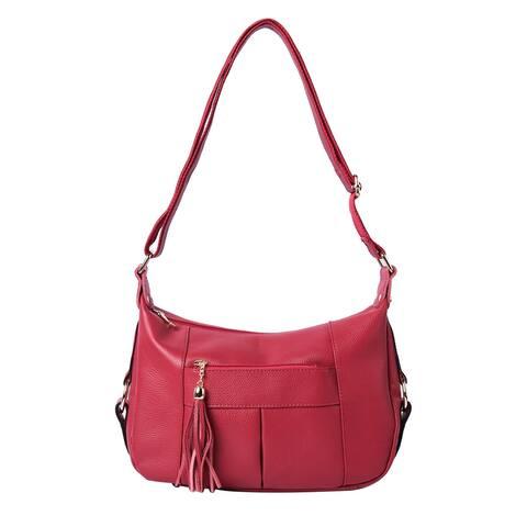 Brown Genuine Leather Pebbled Crossbody Bag Tassel Shoulder Strap