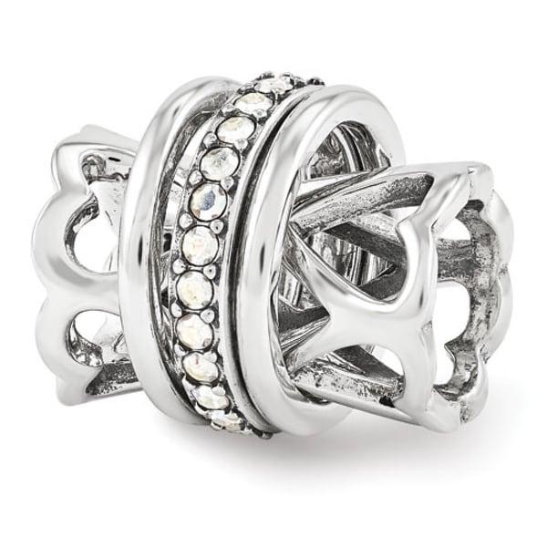 Sterling Silver Reflections Swarovski Elements Heart Spinner Bead (4mm Diameter Hole)