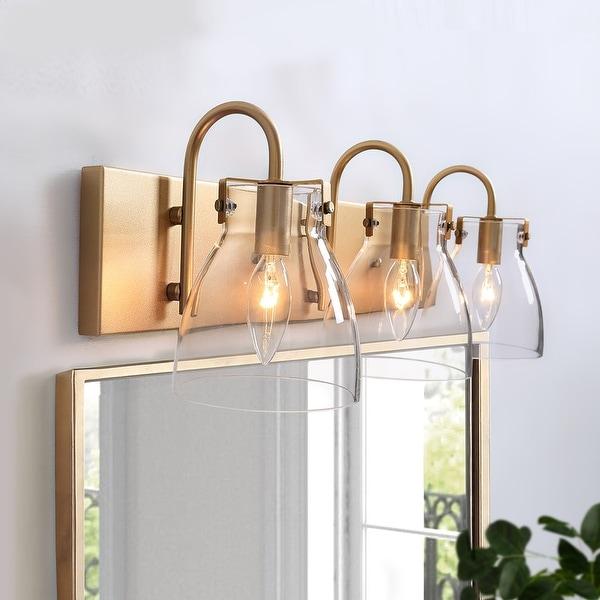 Modern Gold 3-light Linear Bathroom Vanity Lights Glass Wall Sconces. Opens flyout.