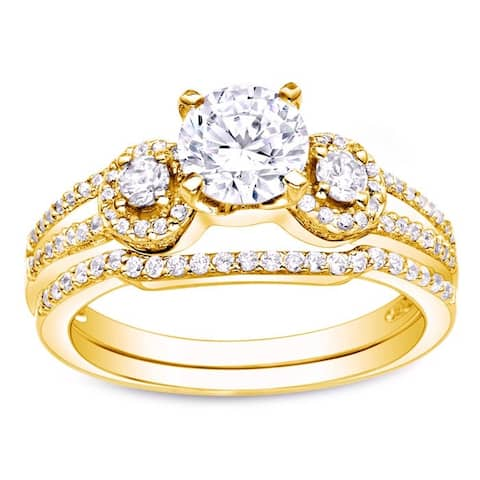 Auriya 14k Gold 1ctw 3-Stone Diamond Engagement Ring Set