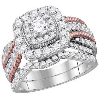 14k White Gold 2-tone Natural Round Diamond Certified Bridal Wedding Roped Ring Band Set 1 & 1/2 Cttw