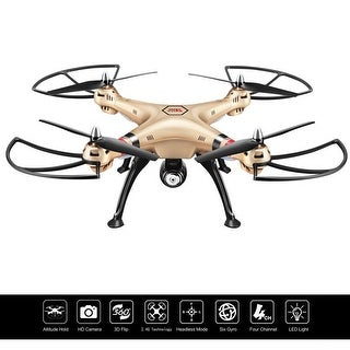 Costway Syma X8HC 2.4G 4CH 6-Axis Gyro RC Quadcopter Drone 2MP HD Camera UAV RTF UFO - GOLD