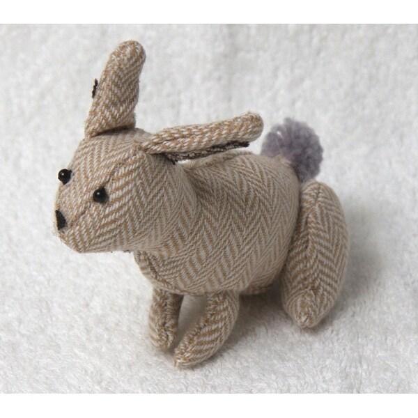 "5.25"" Tan Herringbone Plush Bunny Rabbit Christmas Figure Ornament - brown"