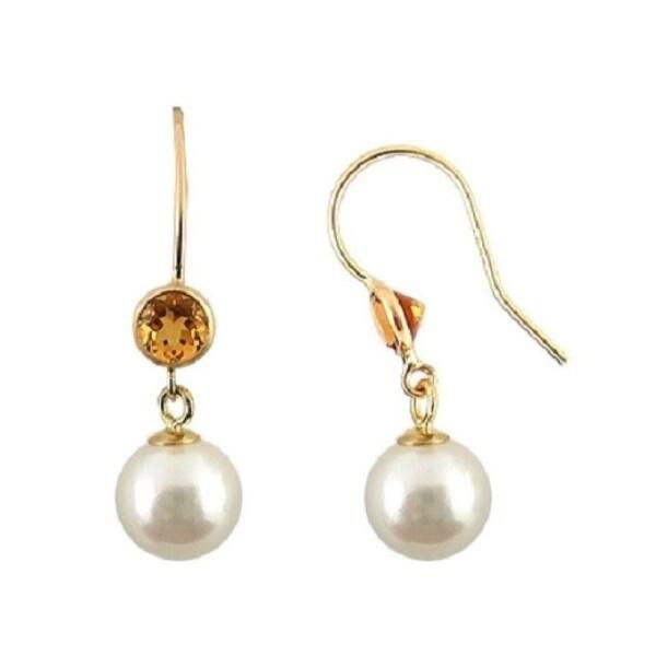 7-7.5mm White Cultured Pearl Dangle Earrings in Sterling Silver