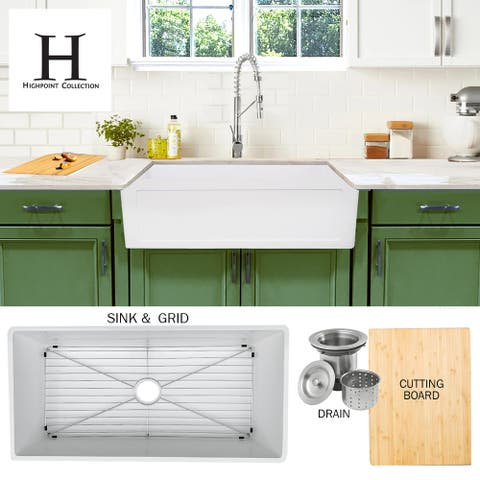 Highpoint Collection 36-inch Solid White Farmsink Farmhouse Sink - 36 x 18 x 9.65