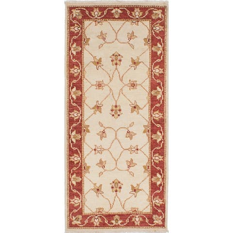 ECARPETGALLERY Hand-knotted Chubi Collection Cream Wool Rug - 2'4 x 6'3