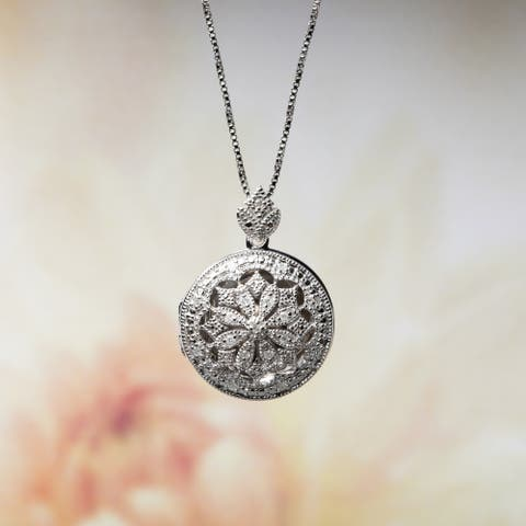 Miadora Sterling Silver 1/10ct TDW Diamond Vintage Floral Locket Necklace - 23.7 mm x 18 in x 17.1 mm