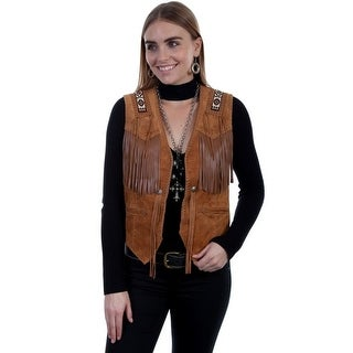 Scully Western Vest Womens Beaded Epaulettes Fringe Hand Laced - bourbon boar suede