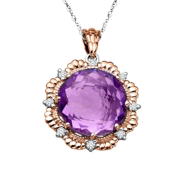 4 1/2 ct Natural Amethyst & 1/8 ct Diamond Pendant in Sterling Silver & 14K Rose Gold - Purple