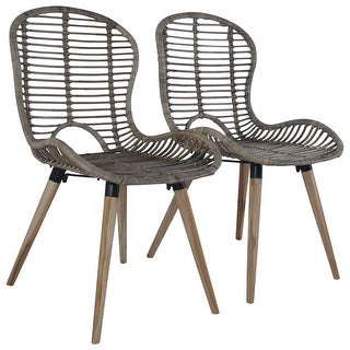 Link to vidaXL Dining Chairs 2 pcs Brown Natural Rattan Similar Items in Dining Room & Bar Furniture