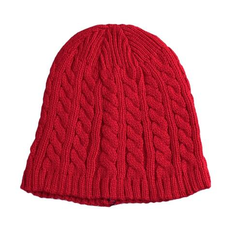 Unisex Beanie Hat Cable Knit Slouchy Stretchy Soft Skull Cap Red