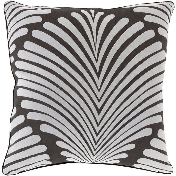 """18"""" Ash Gray and Chalkboard Black Tropical Decorative Throw Pillow"""