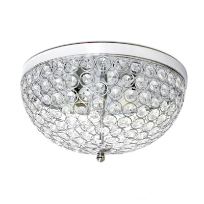Lalia Home Crystal Glam 2 Light Ceiling Flush Mount