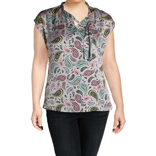 Nine West Womens Plus Blouse Satin Paisley Print - 1x