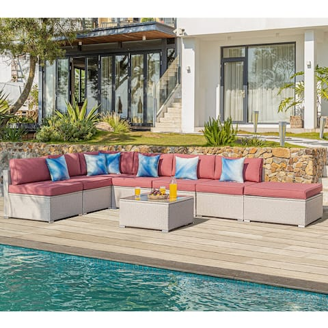 COSIEST Patio Furniture 8 Piece Beige Wicker Sectional Sofa Set with Ottoman