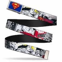 Superman Fcg Blue  Chrome Superman Comic Strip Webbing Web Belt