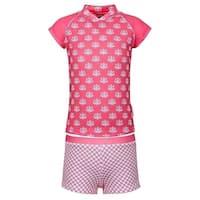 Sun Emporium Girls Coral White Daisy Damask Sun Shirt Boyleg Set