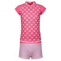 Sun Emporium Little Girls Coral White Daisy Damask Sun Shirt Boyleg Set