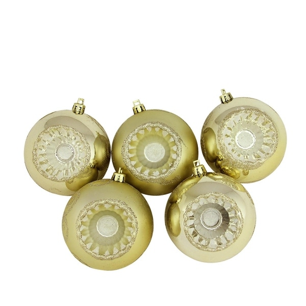 """5ct Shiny and Matte Champagne Retro Reflector Shatterproof Christmas Ball Ornaments 3.25"""" (80mm) - GOLD"""