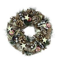 "10.5"" Decorative Frosted Berries, Fruit and Pine Cone Artificial Christmas Wreath - Unlit - Brown"