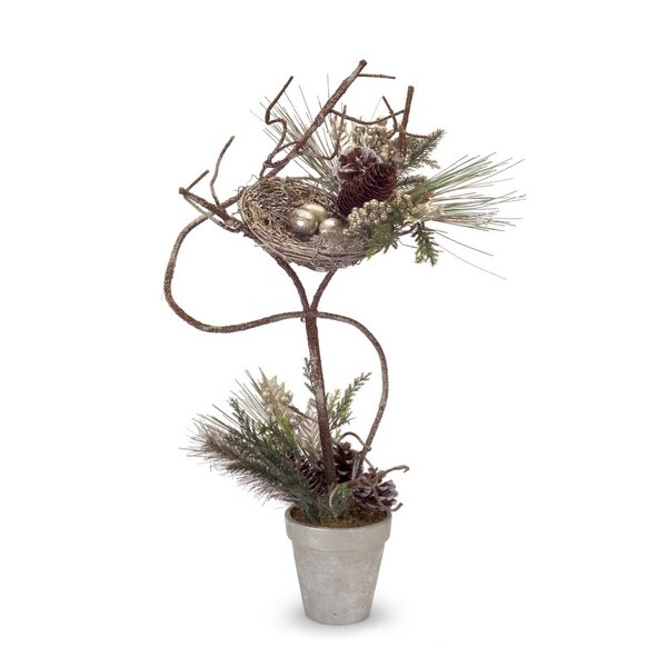"28"" Mixed Pine with Holly, Pine Cones and Birds Nest Christmas Topiary Tree - GOLD"