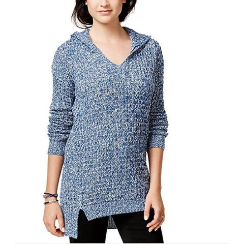 Ultra Flirt Juniors Marled Hoodie Tunic Pullover Sweater,Small - S
