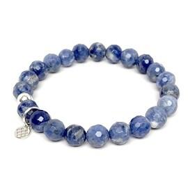 "Blue Sodalite Lucy 7"" Sterling Silver Stretch Bracelet"