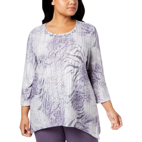 Alfred Dunner Womens Plus Pullover Top Printed Embellished - 1X