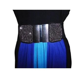 Funfash Belt Black Shimmering Stones Buckle Stretchy Elastic Belt Plus Size