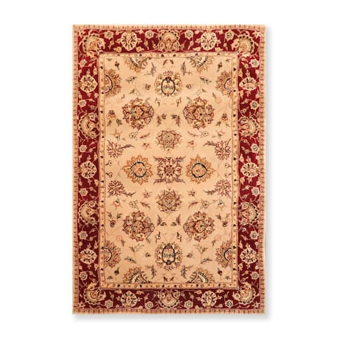 "Oriental Area Rug Hand Tufted New Zealand Wool & Silk Traditional 45-2205 Camel (3'9""x5'9"") - 3'9"" x 5'9"""