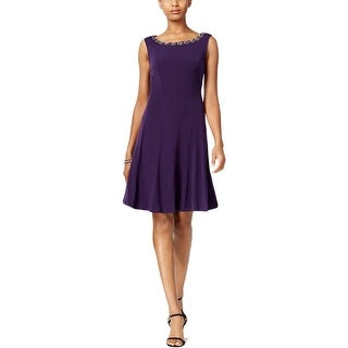 Connected Apparel Womens Petites Cocktail Dress Matte Jersey Embellished - 8P
