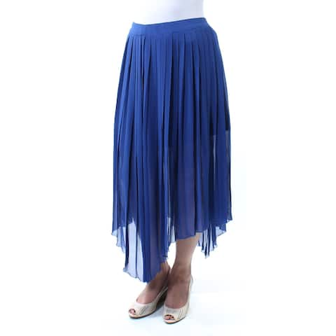 KENSIE Womens Blue Pleated Maxi Hi-Lo Skirt Size: M