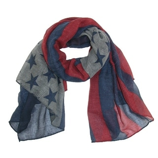 CTM® Women's Large Vintage American Flag Scarf - Navy - One Size