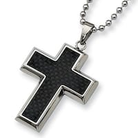 Chisel Black Carbon Fiber Polished Stainless Steel Cross Necklace on 22 Inch Bead Chain (2 mm) - 22 in