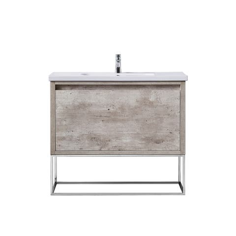 OVE Decors Aeryn 40 in. Burnt Oak Vanity with White Ceramic Top