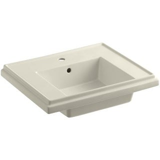 "Kohler K-2757-1 Tresham 24"" Pedestal Fireclay Bathroom Sink with Single Faucet Hole Drilled and Overflow - Less Drain Assembly (2 options available)"