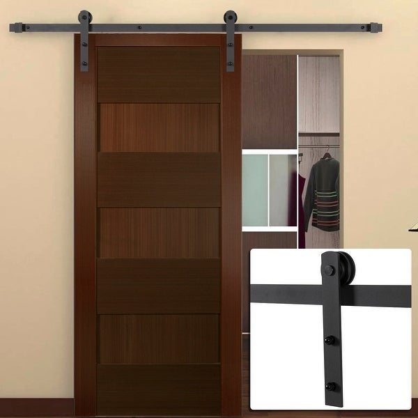 Shop Belleze 6 Ft Frosted Black Antique Country Style Interior Sliding Barn Door Closet Track Kit Free Shipping Today Overstock 15893348