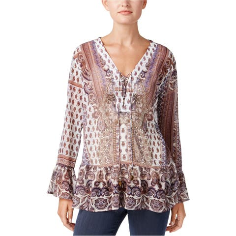 Style&Co. Womens Lace-Up Peasant Blouse