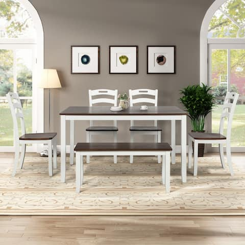 6 Piece Dining Table Set with Bench, Table Set with Waterproof Coat