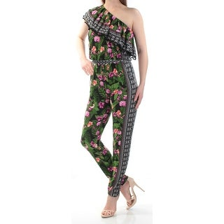 INC $100 Womens New 1487 Green Printed Asymetrical Neckline Jumpsuit M B+B