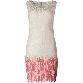 Elie Tahari Womens Ivana Cotton Embroidered Casual Dress