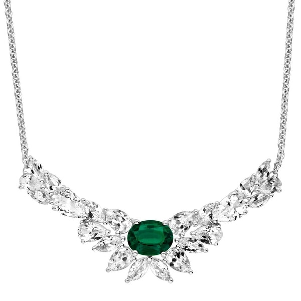 10 ct Created Emerald & White Sapphire Garland Necklace in Sterling Silver - Green
