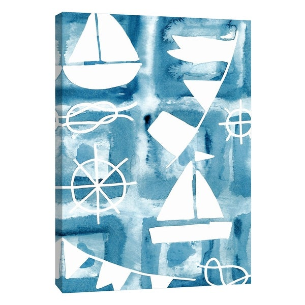 "PTM Images 9-108665 PTM Canvas Collection 10"" x 8"" - ""Blue Watercolor 5"" Giclee Sailboats and Ship Wheels Art Print on Canvas"