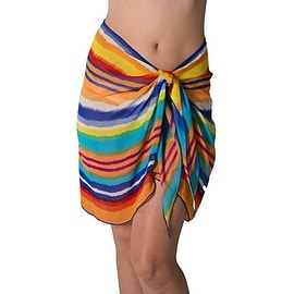 Short Colorful Stripe Swimsuit Sarong Cover up with Built in Ties