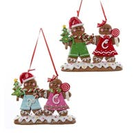 "4.5"" Gingerbread Kisses Red and Green Cookie Couple Christmas Ornament - brown"