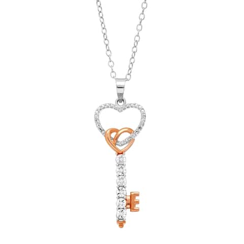 Open Heart Key Pendant with Diamonds in 14K Rose Gold-Plated Sterling Silver