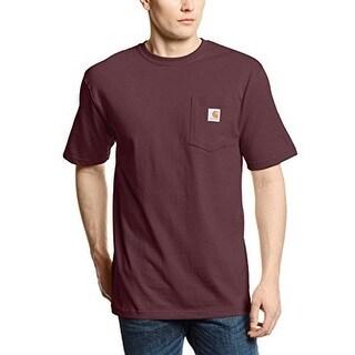 Carhartt Men's Workwear Pocket Short Sleeve T-Shirt Original Fit K87,Port,Large