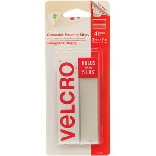 "Velcro(R) Brand Removable Mounting Strips 3.5""X.75"" -4/Pkg, Holds Up To 5Lbs"
