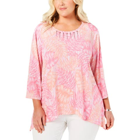 Alfred Dunner Womens Plus Blouse Studded Three-Quarter Sleeves - 1X