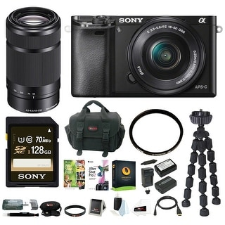Sony Alpha a6000 24.3 Megapixel Mirrorless Interchangeable Lens Digital Camera with 16-50mm Lens (Black) + Sony E 55-210mm KIT